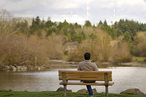Man sitting on bench overlooking pond